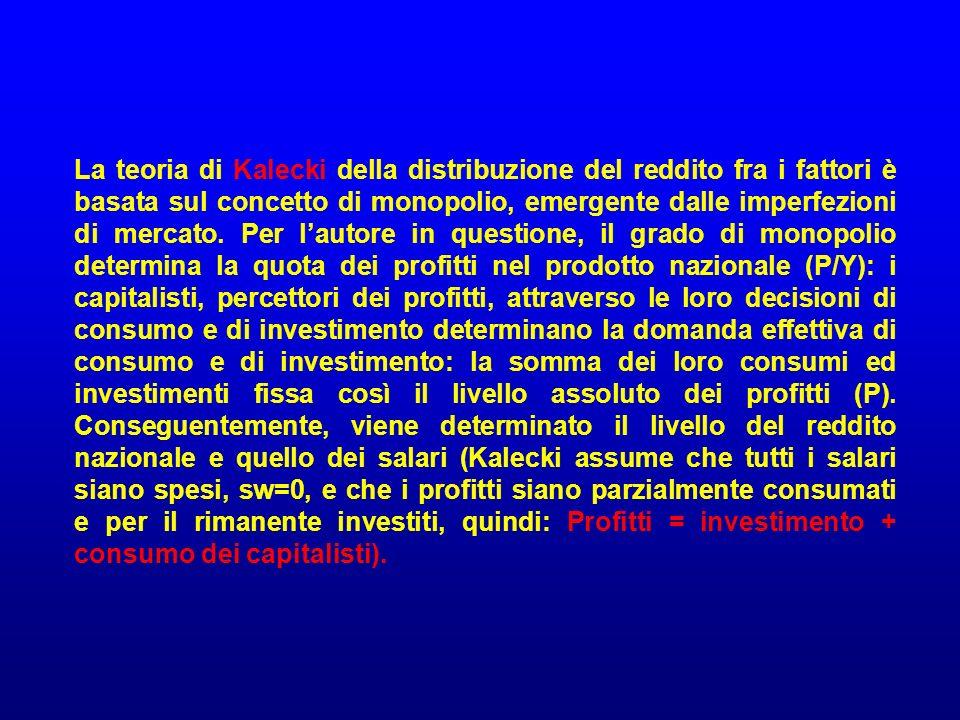 La teoria di Kalecki della distribuzione del reddito fra i fattori è basata sul concetto di monopolio, emergente dalle imperfezioni di mercato.