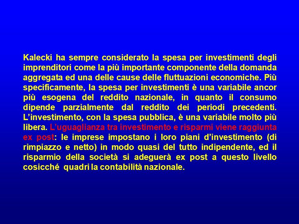 Kalecki ha sempre considerato la spesa per investimenti degli imprenditori come la più importante componente della domanda aggregata ed una delle cause delle fluttuazioni economiche.