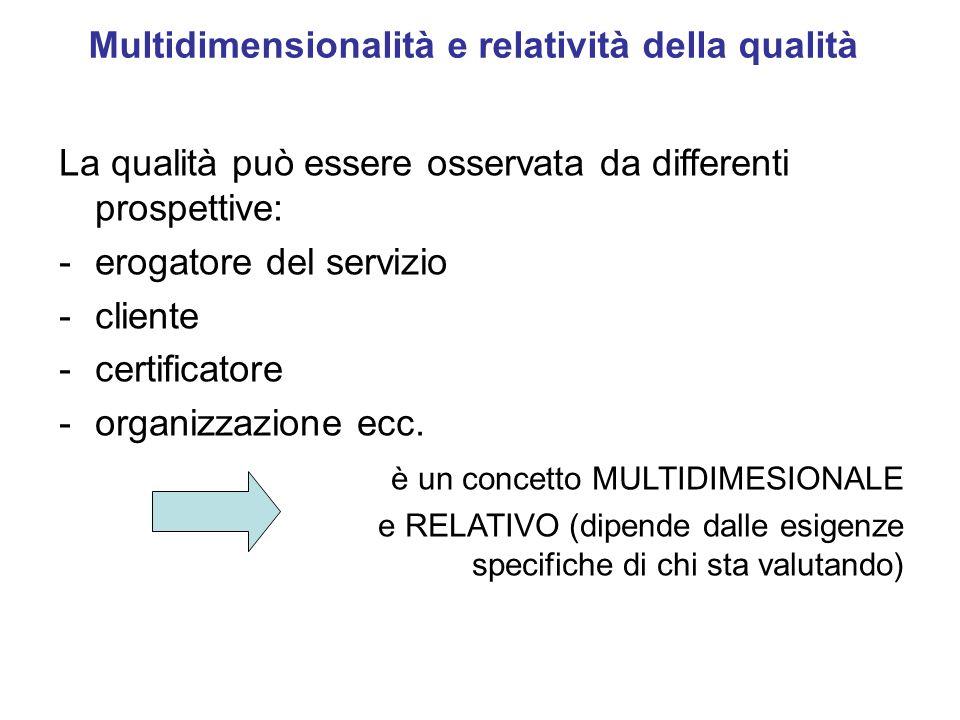 Multidimensionalità e relatività della qualità