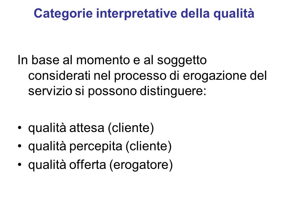Categorie interpretative della qualità