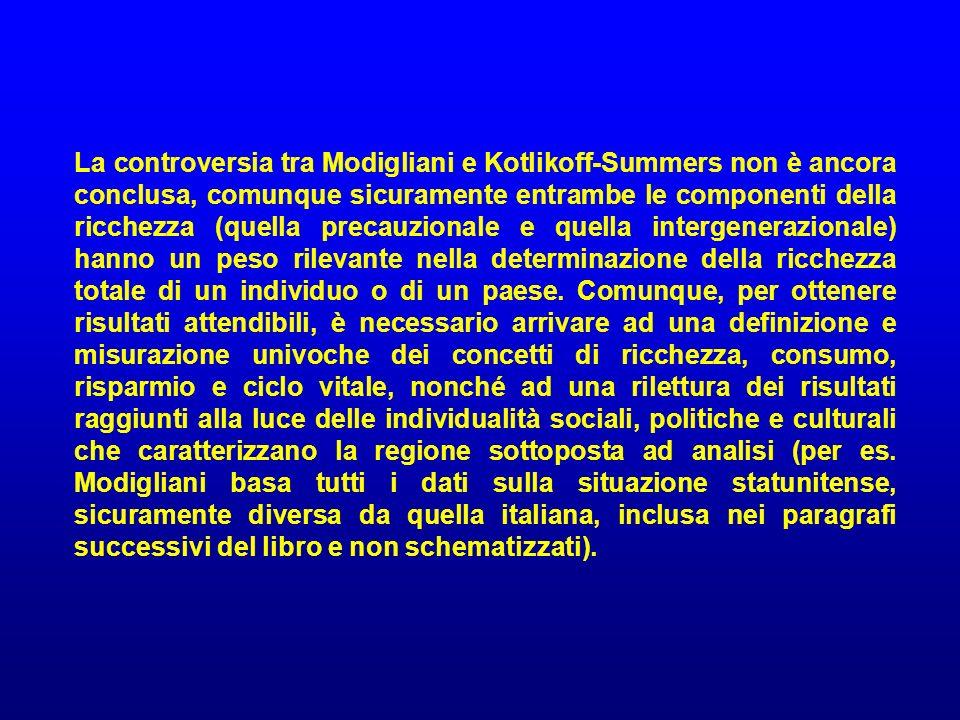 La controversia tra Modigliani e Kotlikoff-Summers non è ancora conclusa, comunque sicuramente entrambe le componenti della ricchezza (quella precauzionale e quella intergenerazionale) hanno un peso rilevante nella determinazione della ricchezza totale di un individuo o di un paese.