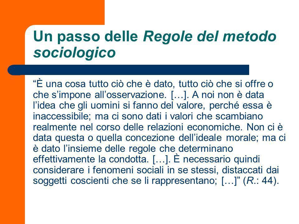 Un passo delle Regole del metodo sociologico