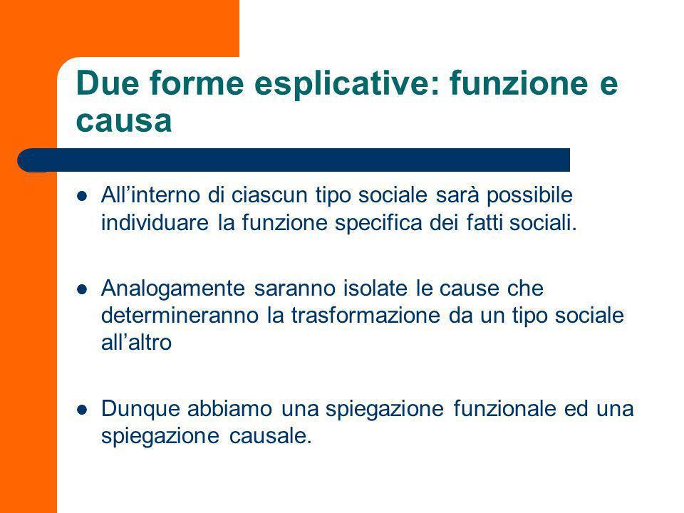 Due forme esplicative: funzione e causa