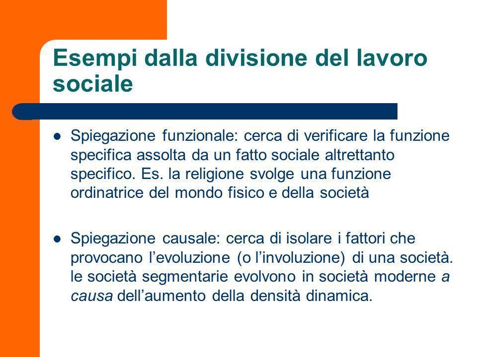 Esempi dalla divisione del lavoro sociale