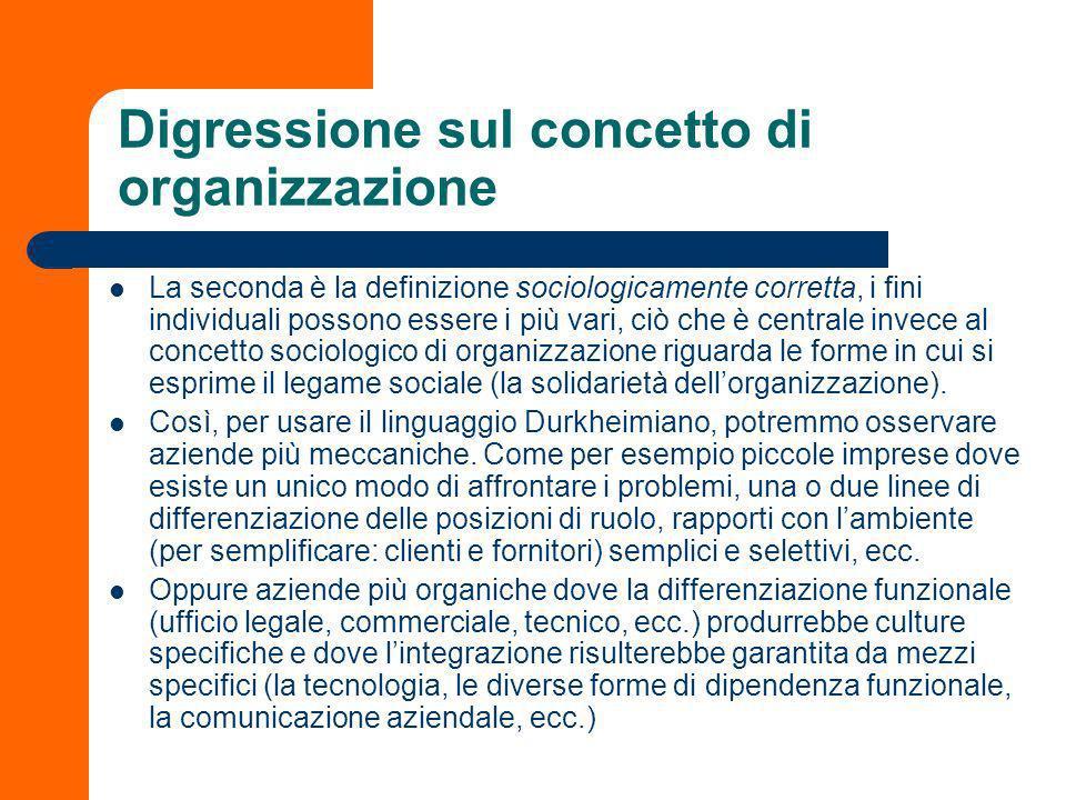 Digressione sul concetto di organizzazione