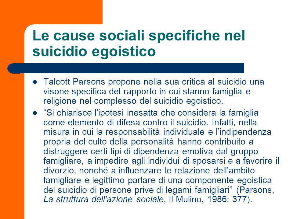 Le cause sociali specifiche nel suicidio egoistico