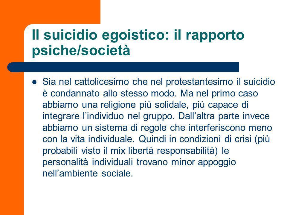 Il suicidio egoistico: il rapporto psiche/società