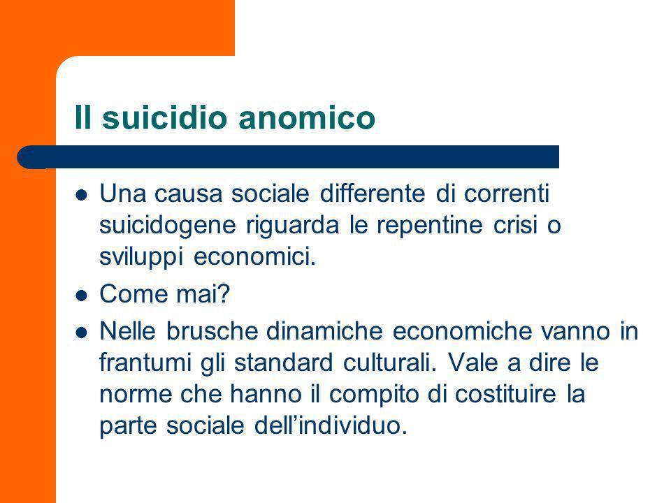 Il suicidio anomico Una causa sociale differente di correnti suicidogene riguarda le repentine crisi o sviluppi economici.