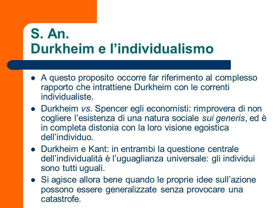 S. An. Durkheim e l'individualismo