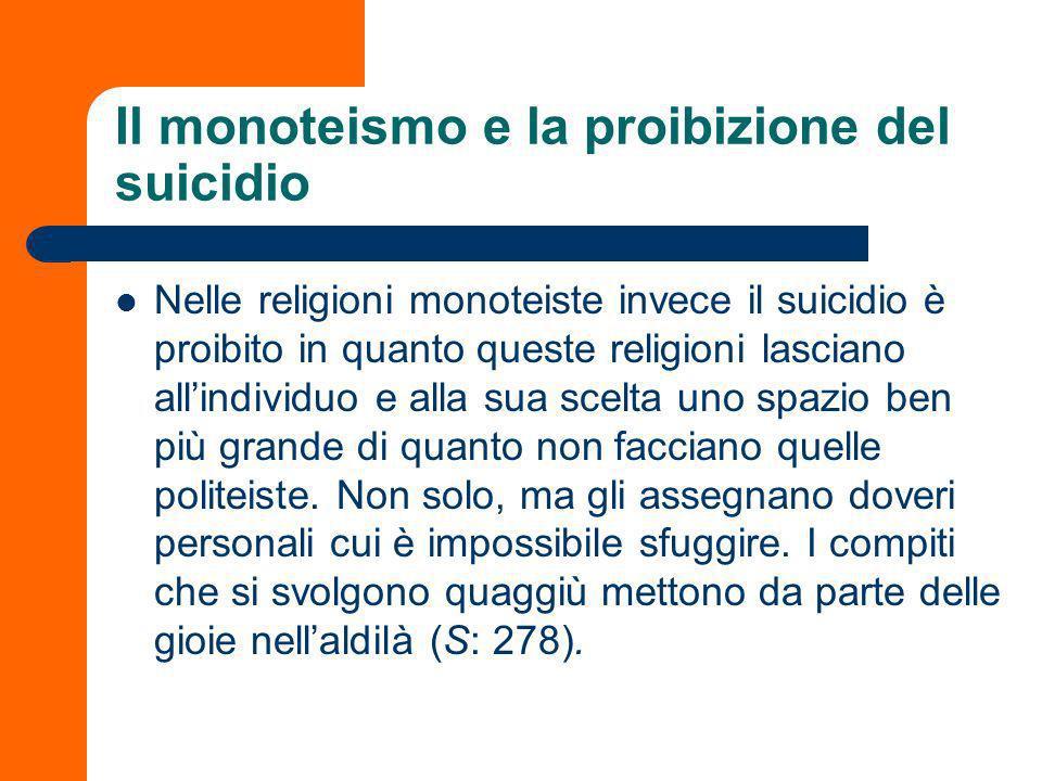 Il monoteismo e la proibizione del suicidio