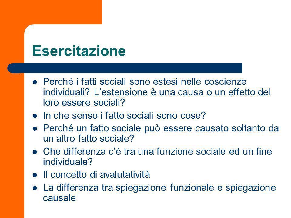 Esercitazione Perché i fatti sociali sono estesi nelle coscienze individuali L'estensione è una causa o un effetto del loro essere sociali
