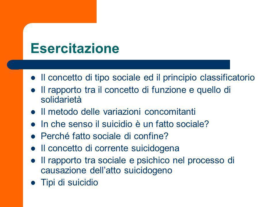 Esercitazione Il concetto di tipo sociale ed il principio classificatorio. Il rapporto tra il concetto di funzione e quello di solidarietà.