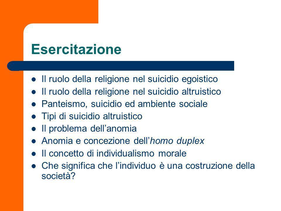Esercitazione Il ruolo della religione nel suicidio egoistico