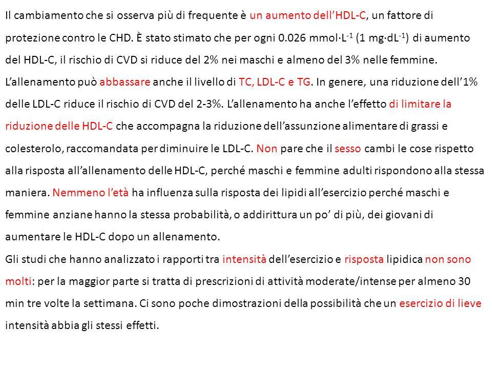 Il cambiamento che si osserva più di frequente è un aumento dell'HDL-C, un fattore di protezione contro le CHD. È stato stimato che per ogni 0.026 mmol·L-1 (1 mg·dL-1) di aumento del HDL-C, il rischio di CVD si riduce del 2% nei maschi e almeno del 3% nelle femmine. L'allenamento può abbassare anche il livello di TC, LDL-C e TG. In genere, una riduzione dell'1% delle LDL-C riduce il rischio di CVD del 2-3%. L'allenamento ha anche l'effetto di limitare la riduzione delle HDL-C che accompagna la riduzione dell'assunzione alimentare di grassi e colesterolo, raccomandata per diminuire le LDL-C. Non pare che il sesso cambi le cose rispetto alla risposta all'allenamento delle HDL-C, perché maschi e femmine adulti rispondono alla stessa maniera. Nemmeno l'età ha influenza sulla risposta dei lipidi all'esercizio perché maschi e femmine anziane hanno la stessa probabilità, o addirittura un po' di più, dei giovani di aumentare le HDL-C dopo un allenamento.