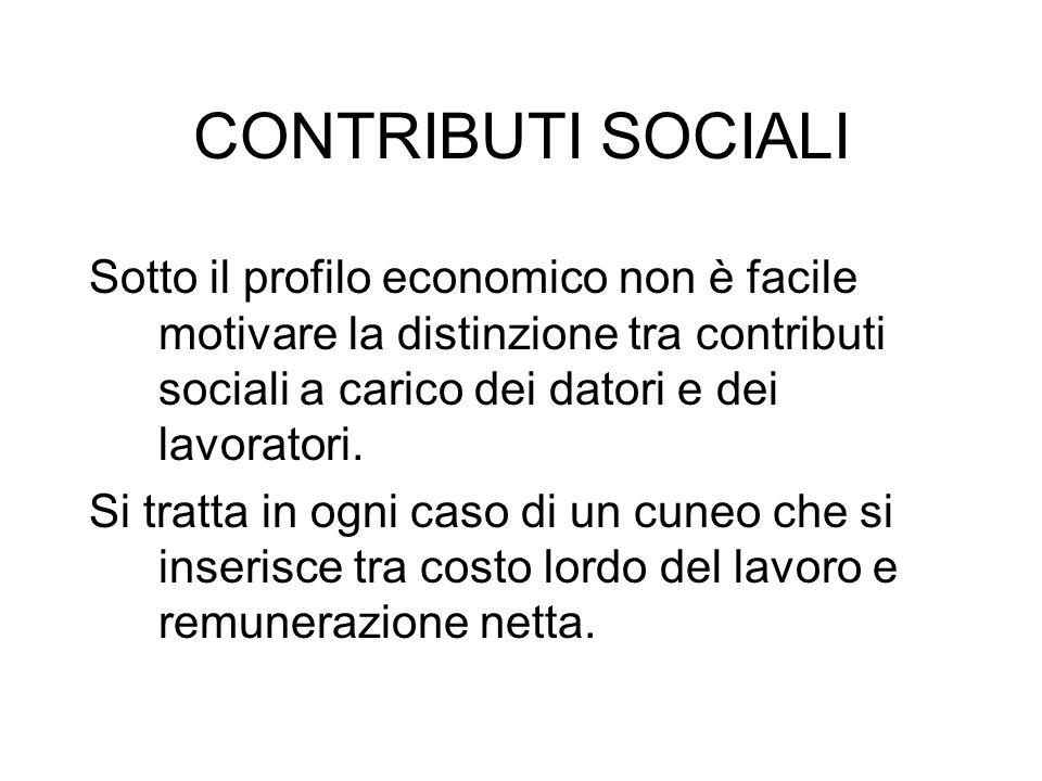 CONTRIBUTI SOCIALI Sotto il profilo economico non è facile motivare la distinzione tra contributi sociali a carico dei datori e dei lavoratori.