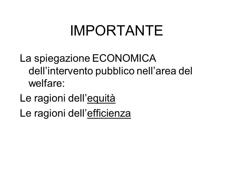 IMPORTANTE La spiegazione ECONOMICA dell'intervento pubblico nell'area del welfare: Le ragioni dell'equità.