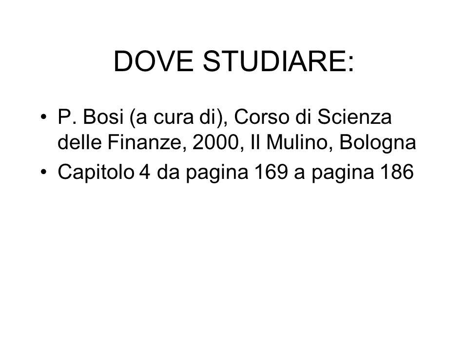 DOVE STUDIARE: P. Bosi (a cura di), Corso di Scienza delle Finanze, 2000, Il Mulino, Bologna.