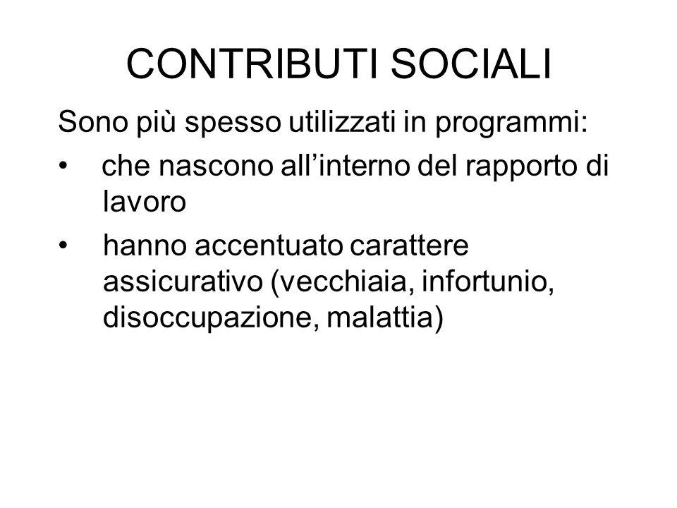 CONTRIBUTI SOCIALI Sono più spesso utilizzati in programmi: