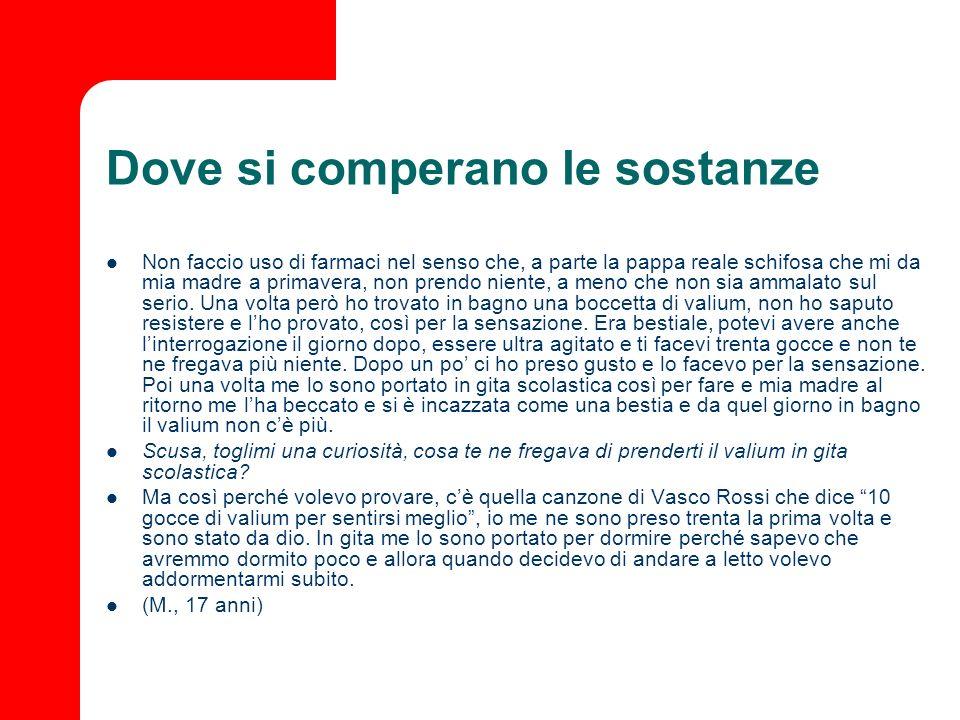 Dove si comperano le sostanze