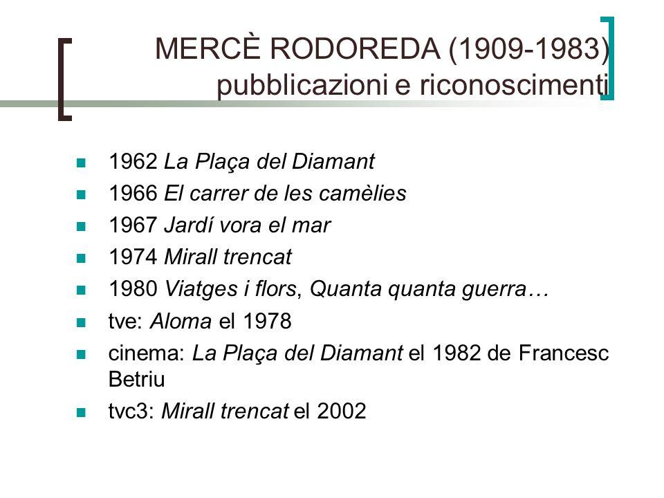 MERCÈ RODOREDA (1909-1983) pubblicazioni e riconoscimenti