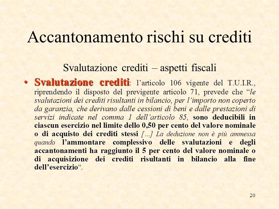 Accantonamento rischi su crediti
