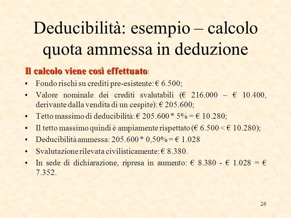 Deducibilità: esempio – calcolo quota ammessa in deduzione
