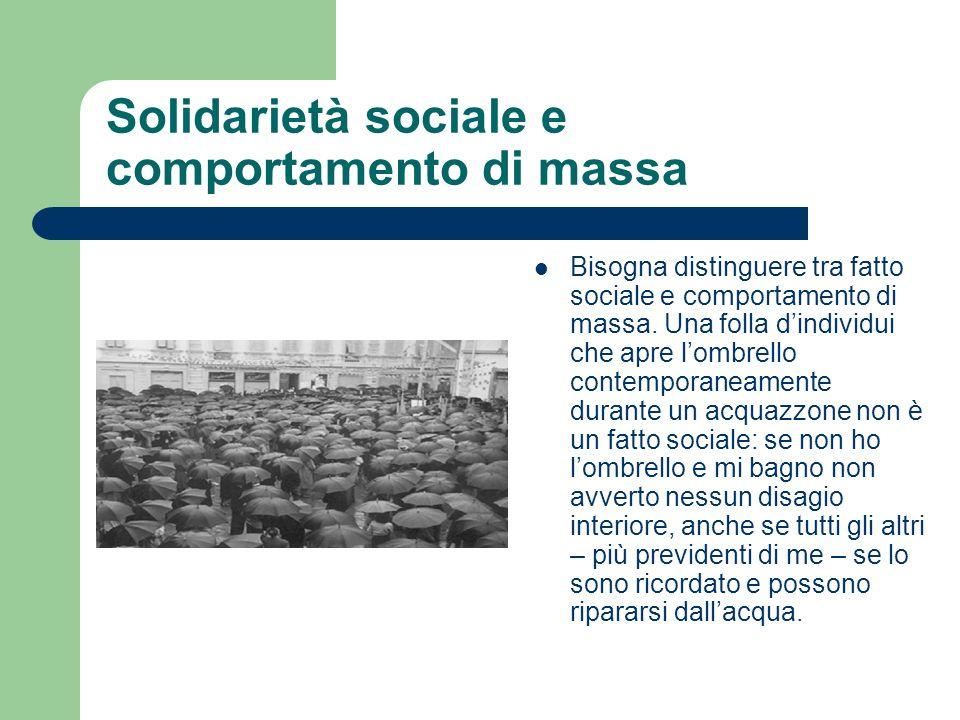 Solidarietà sociale e comportamento di massa