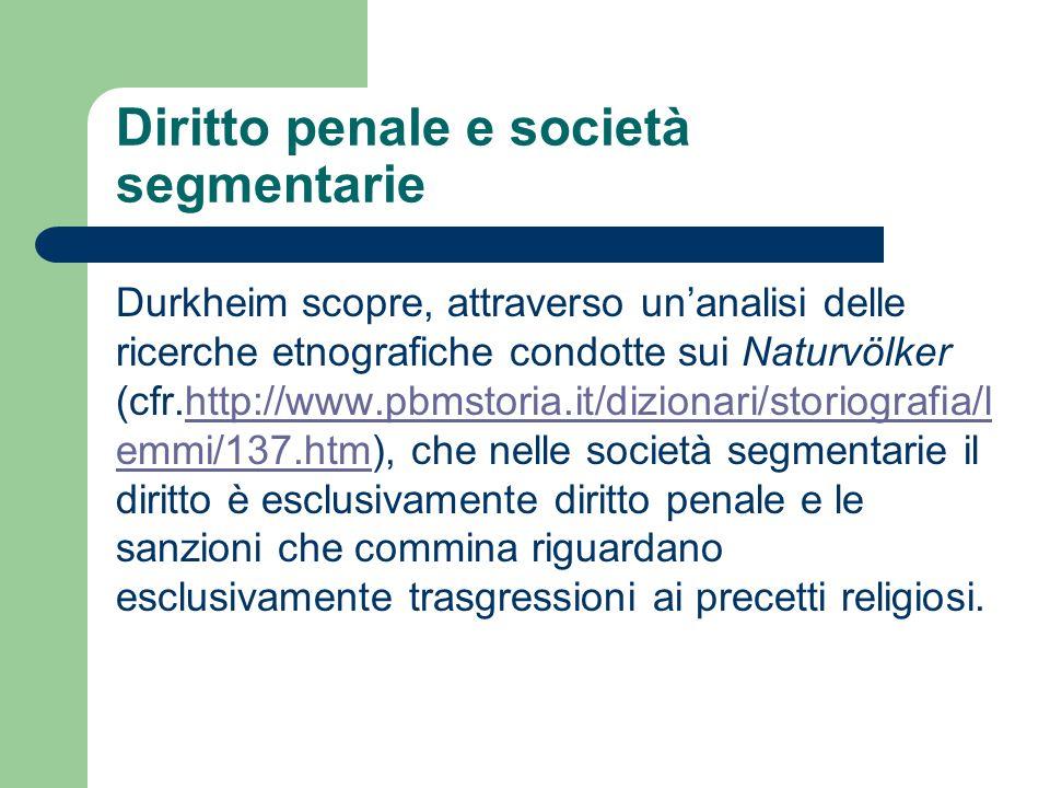 Diritto penale e società segmentarie