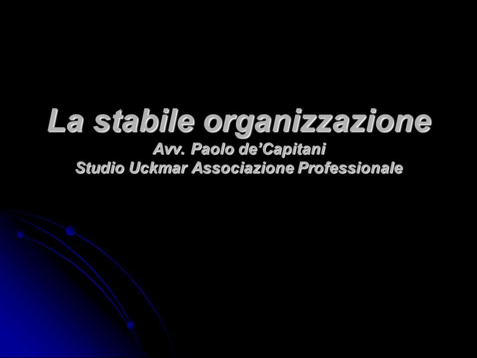 La stabile organizzazione Avv