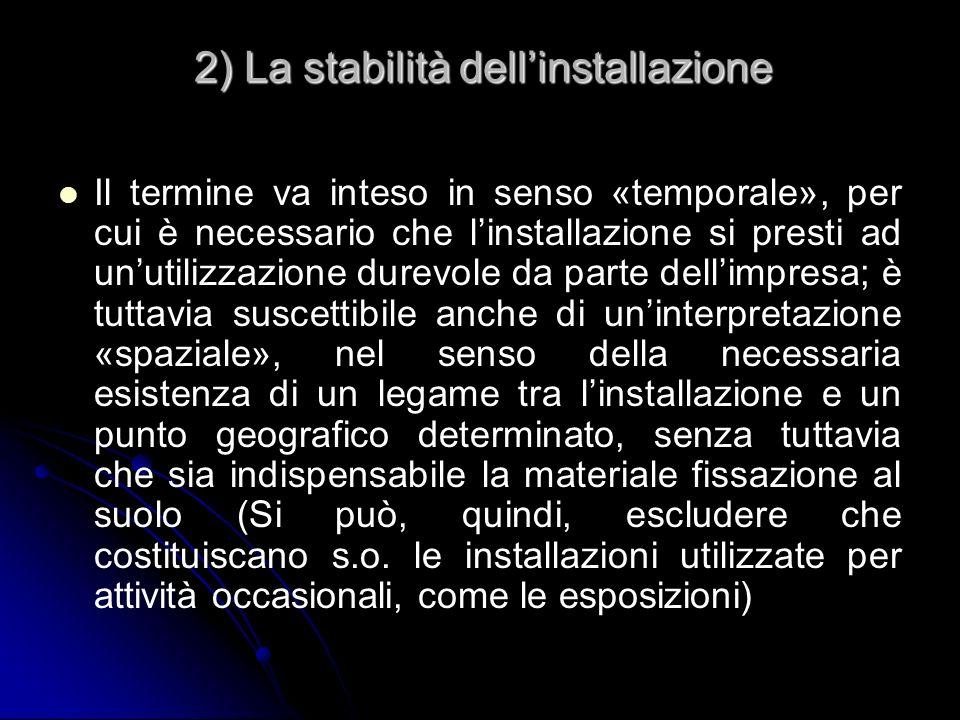2) La stabilità dell'installazione
