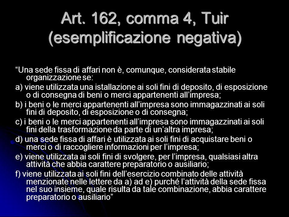 Art. 162, comma 4, Tuir (esemplificazione negativa)