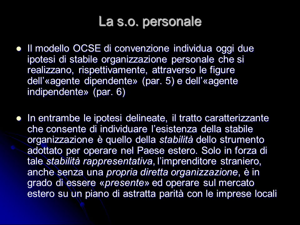 La s.o. personale