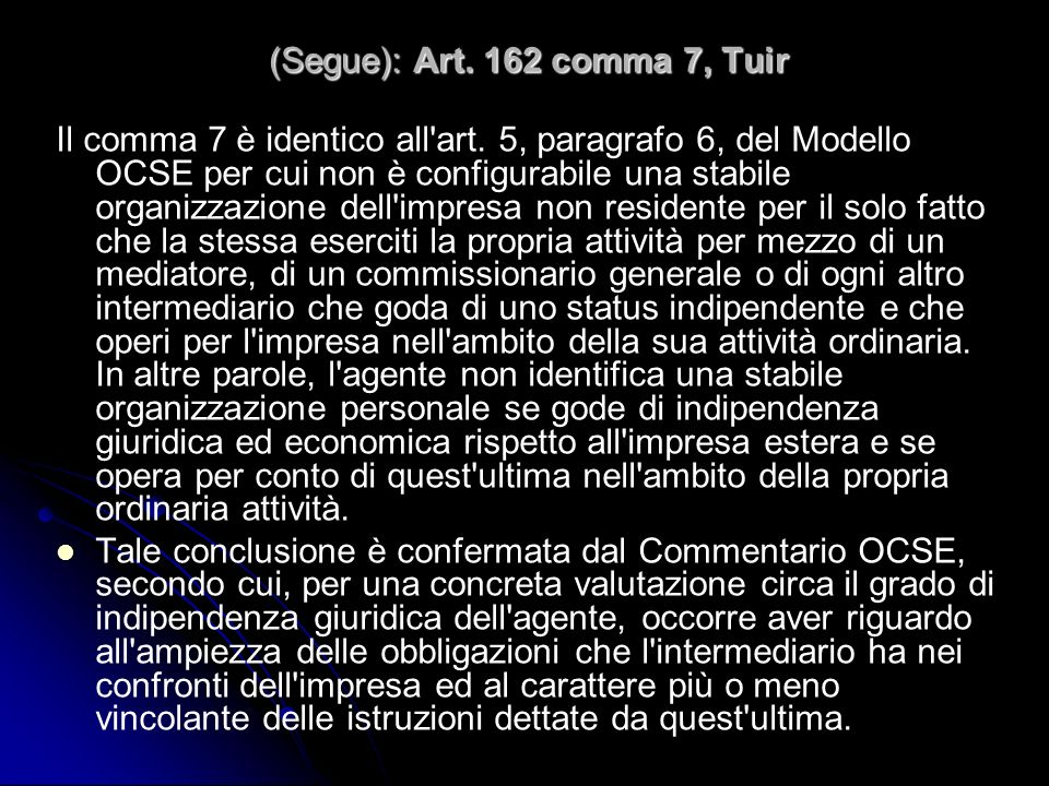 (Segue): Art. 162 comma 7, Tuir