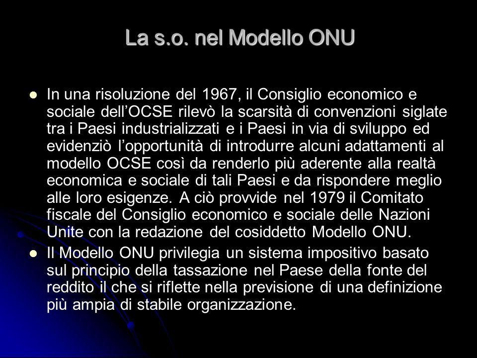 La s.o. nel Modello ONU