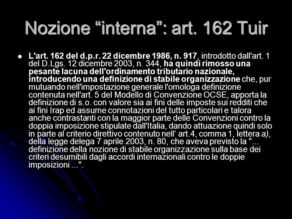 Nozione interna : art. 162 Tuir