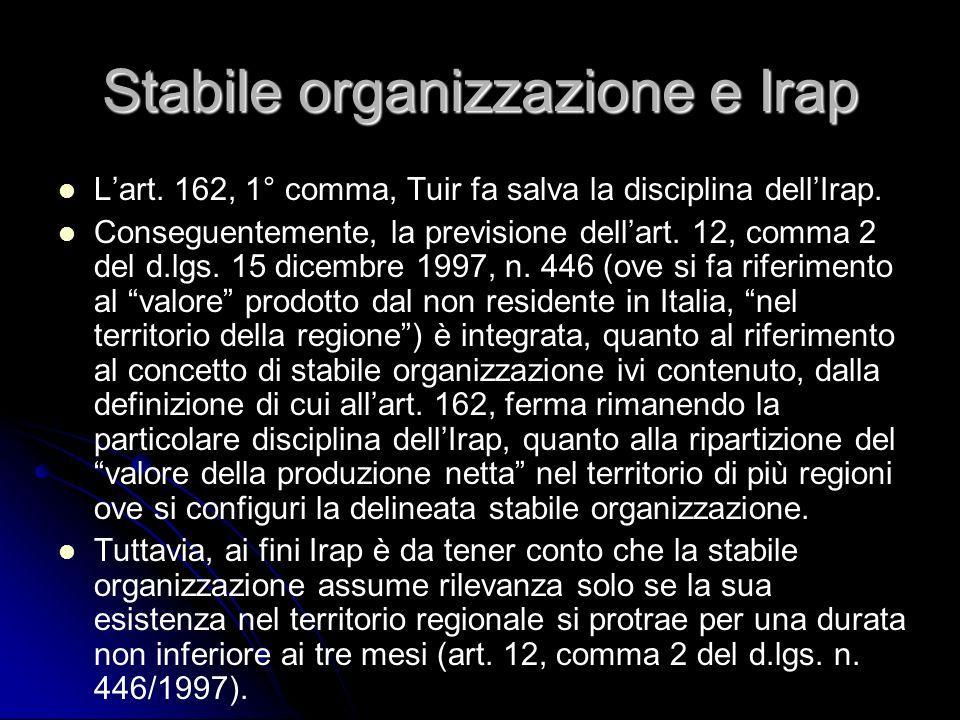 Stabile organizzazione e Irap