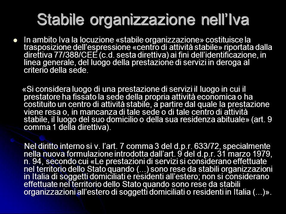 Stabile organizzazione nell'Iva