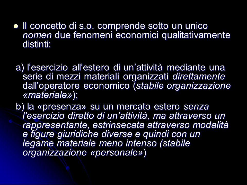Il concetto di s.o. comprende sotto un unico nomen due fenomeni economici qualitativamente distinti: