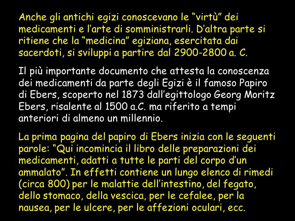Anche gli antichi egizi conoscevano le virtù dei medicamenti e l'arte di somministrarli. D'altra parte si ritiene che la medicina egiziana, esercitata dai sacerdoti, si sviluppi a partire dal 2900-2800 a. C.