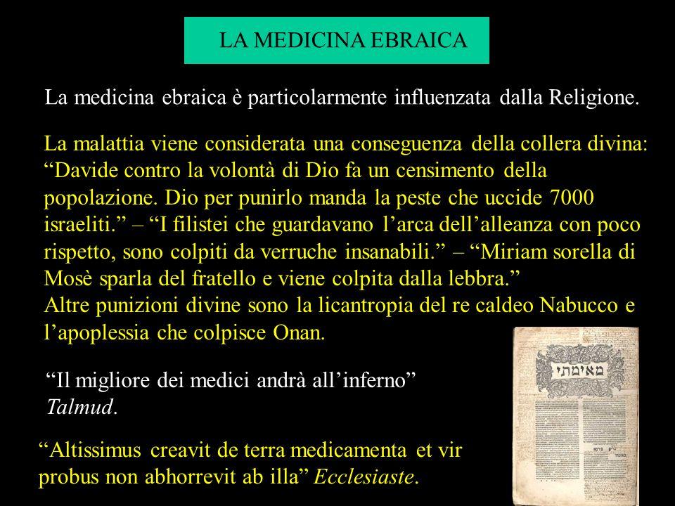 La medicina ebraica è particolarmente influenzata dalla Religione.