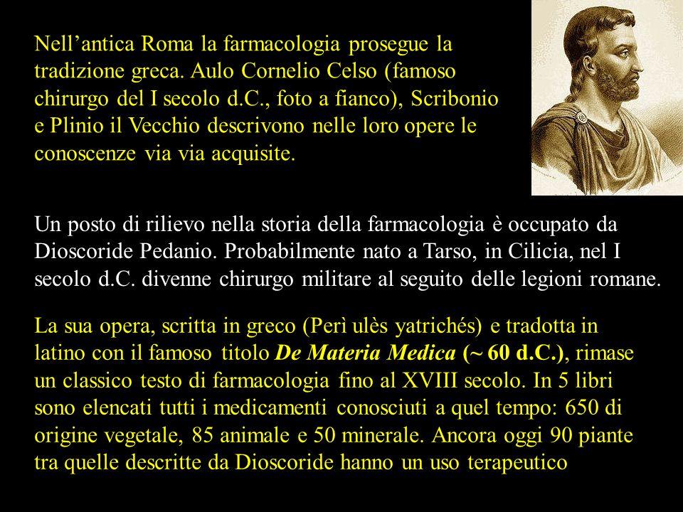 Nell'antica Roma la farmacologia prosegue la tradizione greca