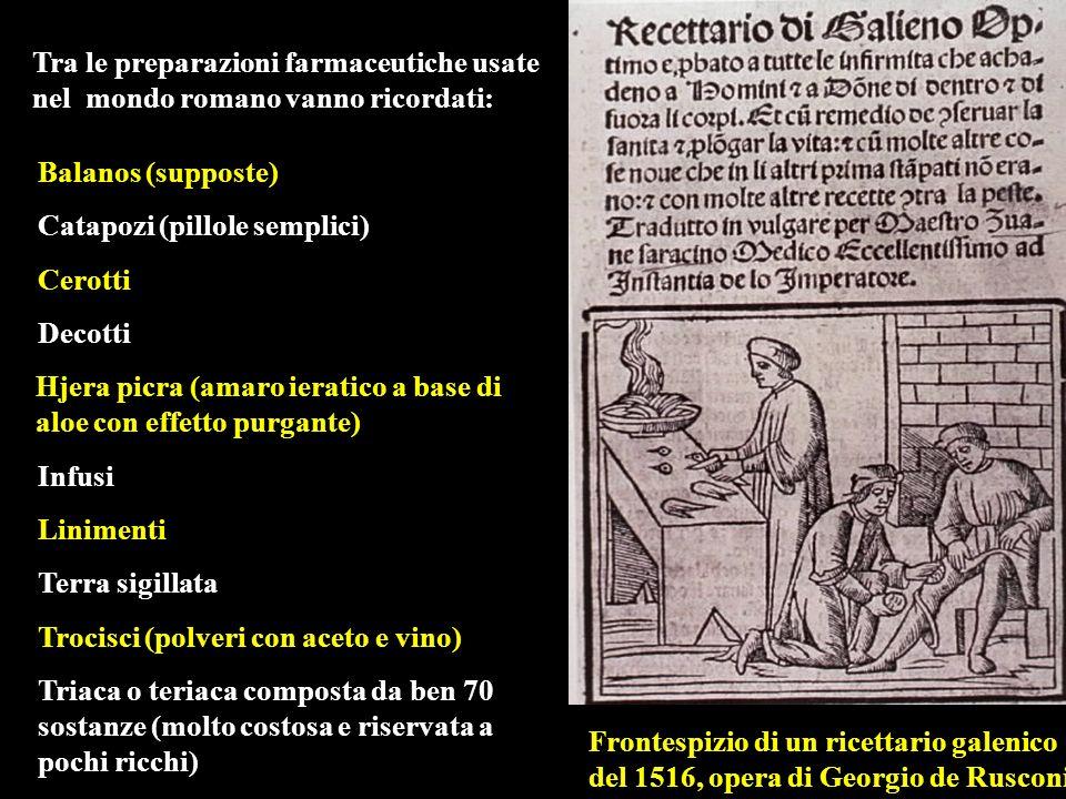 Tra le preparazioni farmaceutiche usate nel mondo romano vanno ricordati: