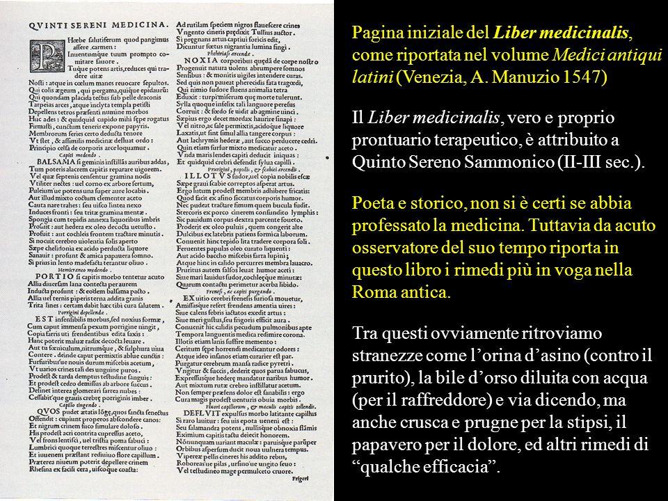 Pagina iniziale del Liber medicinalis, come riportata nel volume Medici antiqui latini (Venezia, A. Manuzio 1547)