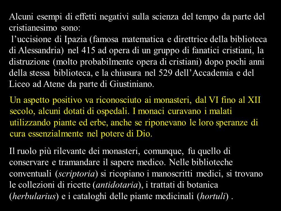 Alcuni esempi di effetti negativi sulla scienza del tempo da parte del cristianesimo sono: