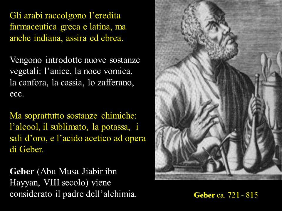 Gli arabi raccolgono l'eredita farmaceutica greca e latina, ma anche indiana, assira ed ebrea.