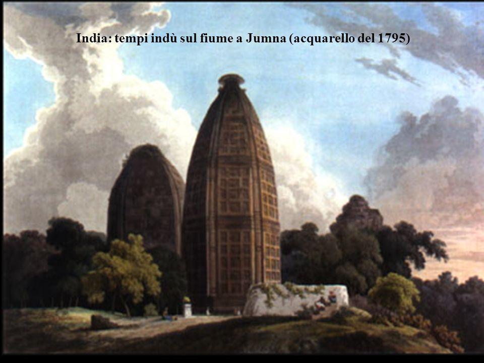 India: tempi indù sul fiume a Jumna (acquarello del 1795)