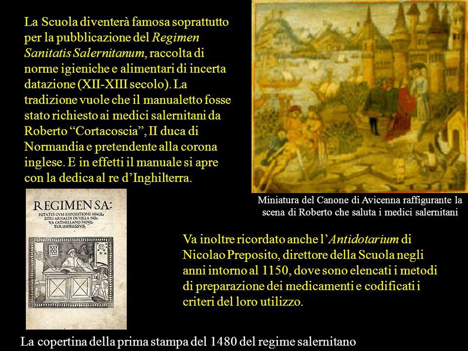 La copertina della prima stampa del 1480 del regime salernitano