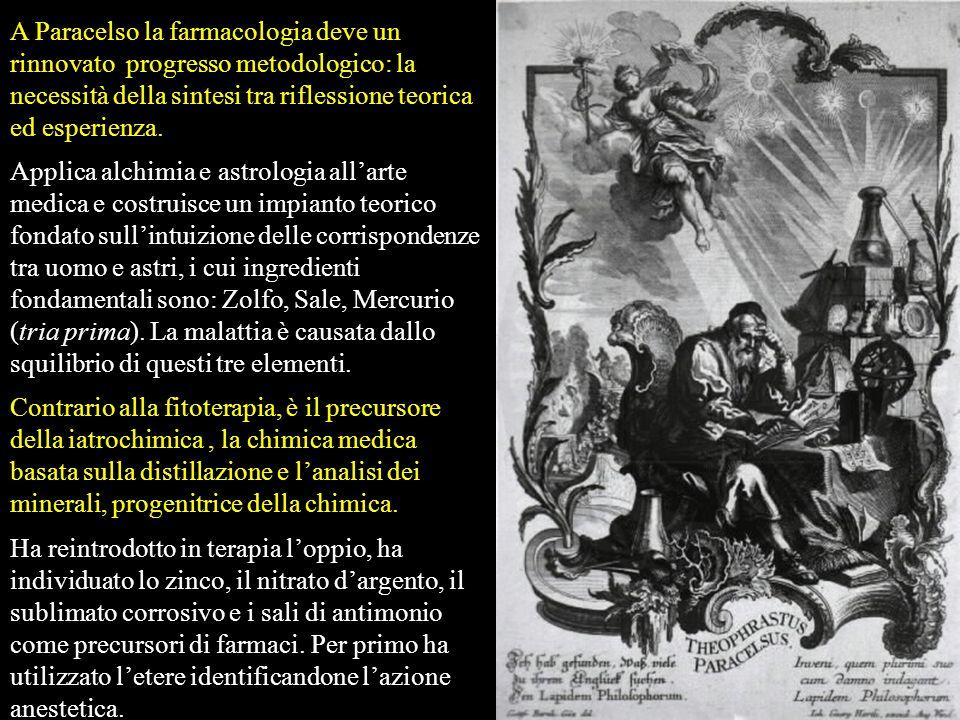 A Paracelso la farmacologia deve un rinnovato progresso metodologico: la necessità della sintesi tra riflessione teorica ed esperienza.