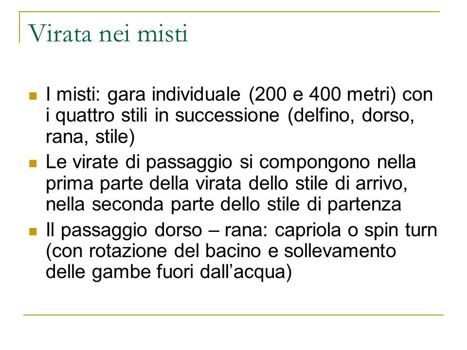 Virata nei misti I misti: gara individuale (200 e 400 metri) con i quattro stili in successione (delfino, dorso, rana, stile)