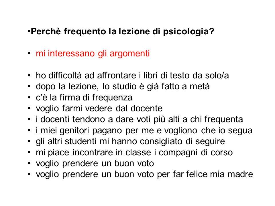 Perchè frequento la lezione di psicologia